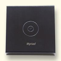 Deksel met logo en voorbeeld van lettertype Myriad